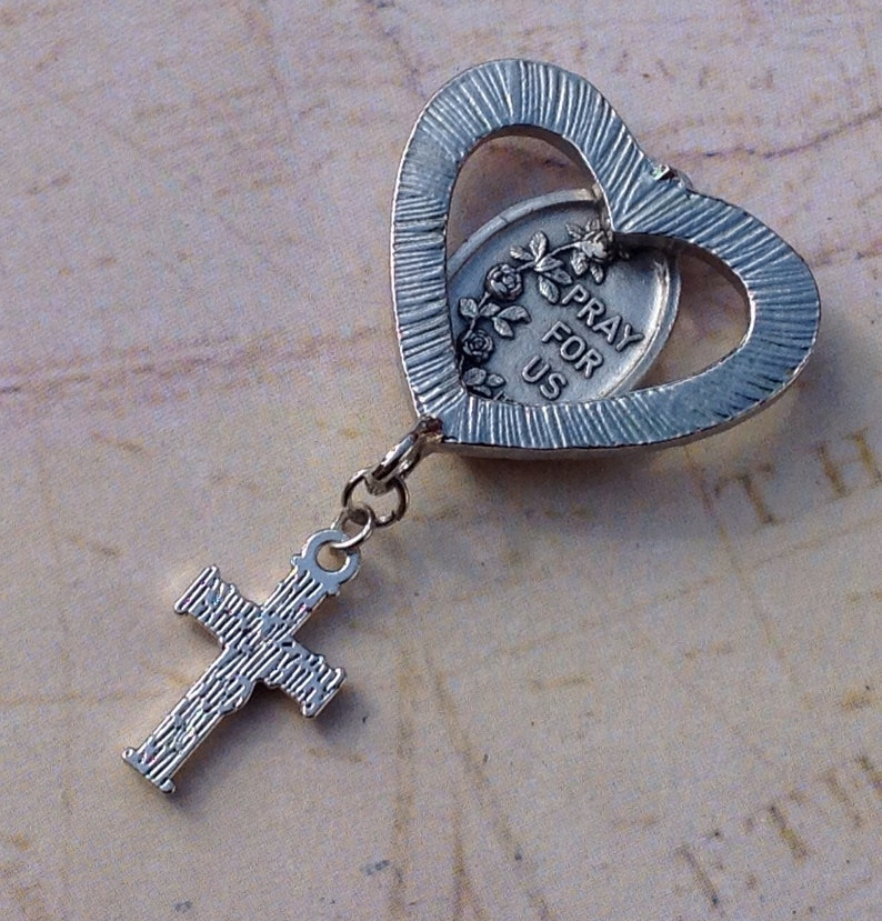 Saint Theresa Rhinestone Religious Medal Sacred Heart Centerpiece Pendant for Jewelry Making /& Creating