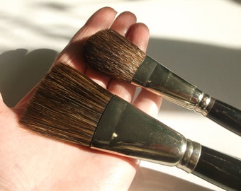 """NEW Pastry Brush Natural Bristle 12/"""" Wooden with a slant head Rare"""