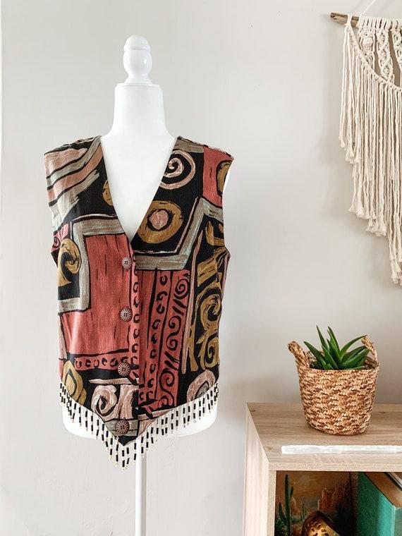 Vintage Caché vest/vintage beaded vest/vintage 90s
