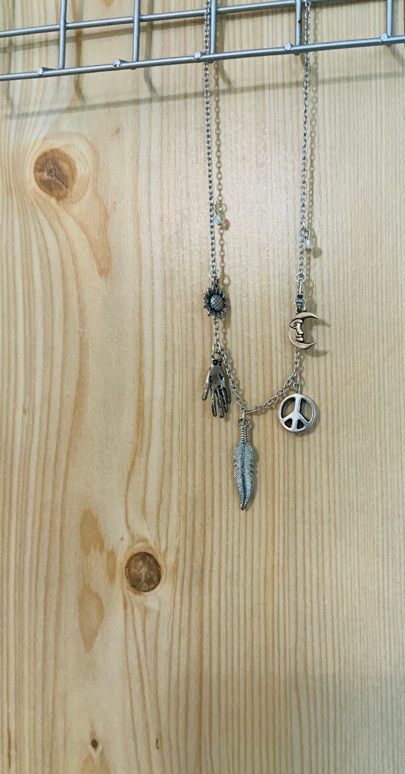 Charms from the Old World   Necklace  Charm Necklace  Silver Necklace  Mystical Necklace