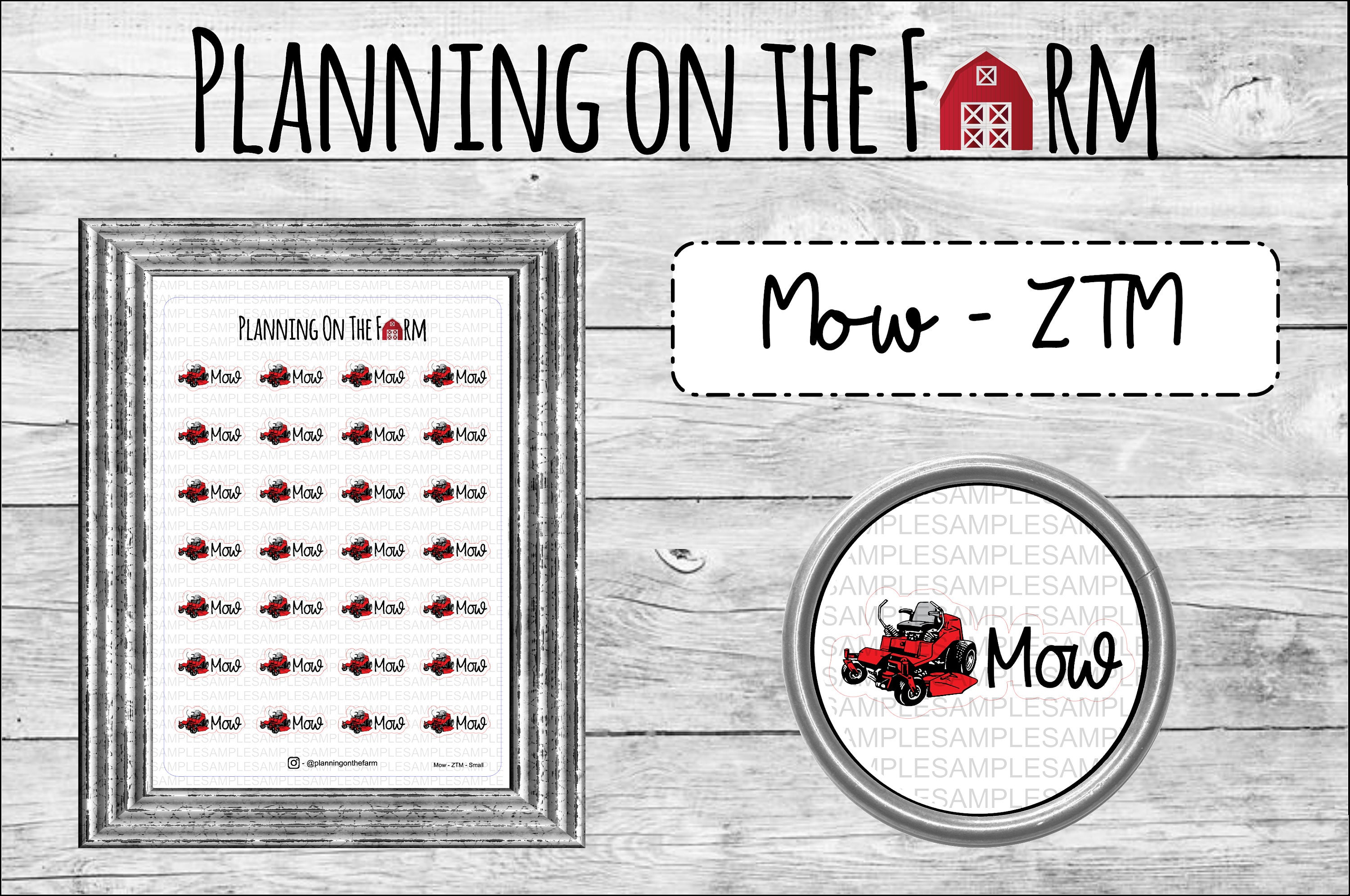 Mow the Lawn | Zero Turn Lawn Mower Planner Sticker | Planning on the Farm | Farming and Homestead Stickers | Mow Machinery | Work | Chores for sale
