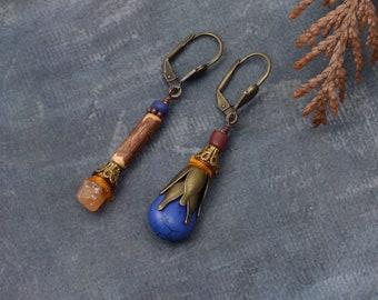 Orange blue floral earrings