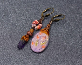 Orange flowers earrings