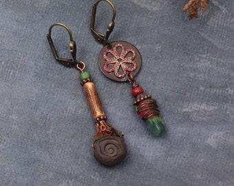 Rustic rose earrings