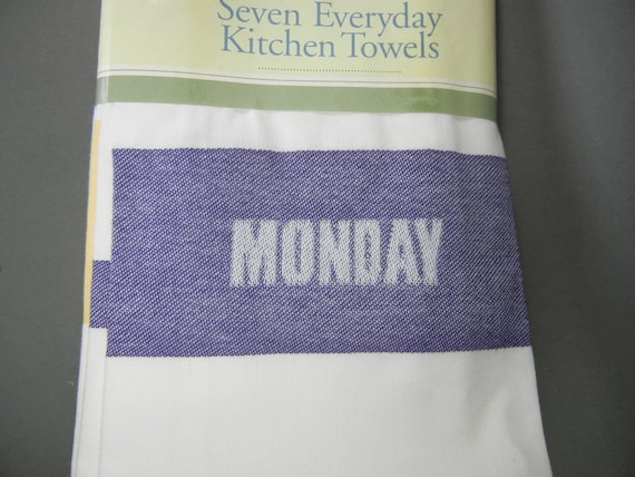 Martha Stewart kitchen towels MS day of the week towels Martha Stewart  cotton kitchen towels Martha Stewart NOS Martha Stewart towel set