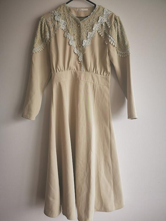 Beautiful Lace Embroidered Dress, Vintage Dress, V