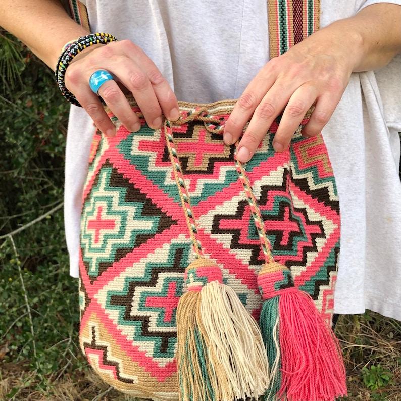 Large Wayuu Bag Handmade Crochet bag Large crochet bag,,Large Crochet Crossbody Purse Pendleton style bag. Artisan Purse,Crochet Purse
