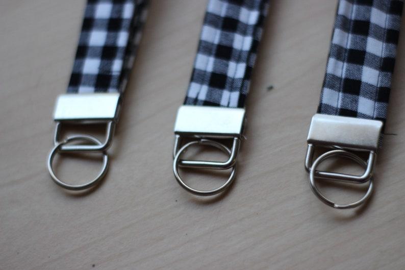 Black and White Plaid Gingham Key Fob
