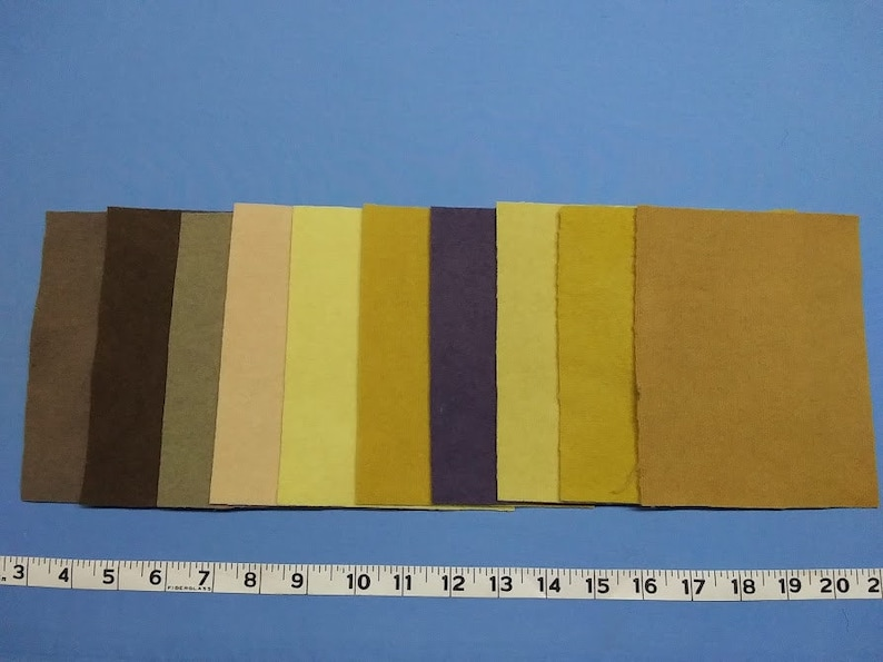 Hand Dyed Wool Fabric With Plants 5x6.5 Pieces 10 Colors F-103