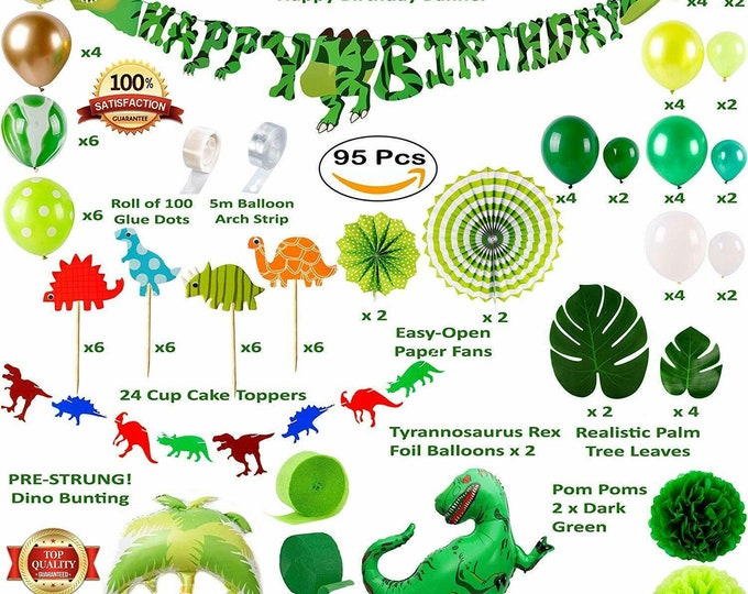 Dinosaur Party Supplies Birthday Decorations for Boys and Girls    Happy Birthday Banner, TRex Palm Tree Inflatable Balloons