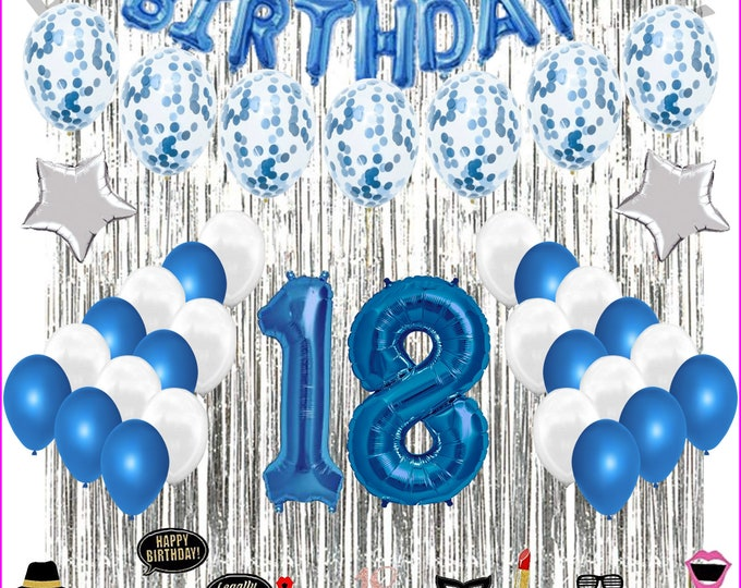 18Th Birthday Decorations Party Balloons BLUE-WHITE For Girls Boys-photo props