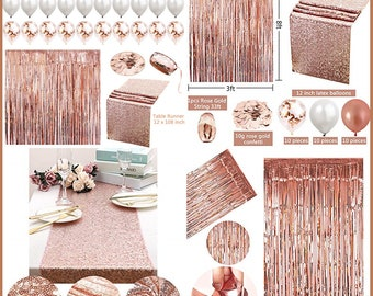 Rose Gold Party Decorations Etsy