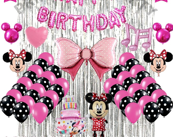 Minnie Mouse Birthday Party Decorations Minnie Mouse Balloons set 69Pcs