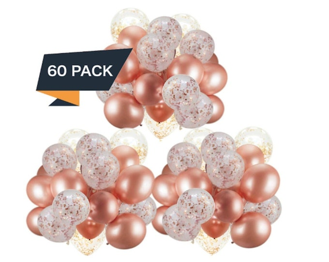 60 Rose Gold Balloons Confetti Balloons Bridal Shower Baby Shower Balloon Decorations Party Balloons Graduation Engagement Wedding Birthday