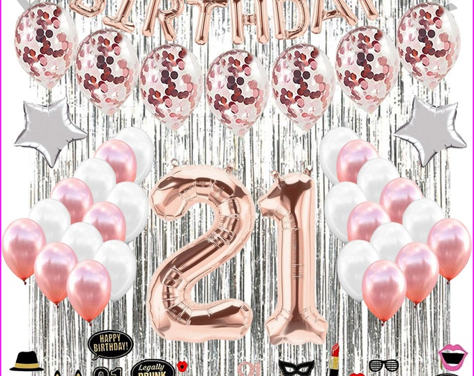 21st Birthday Decorations 21 Birthday Party Supplies 21 Cake Topper & PHOTO PROP