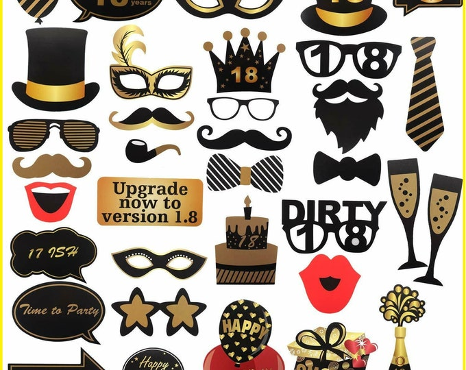30 Pcs 18th Birthday Photo Booth Props Sign Kit - Eighteen Years Old Dress-up-photo props
