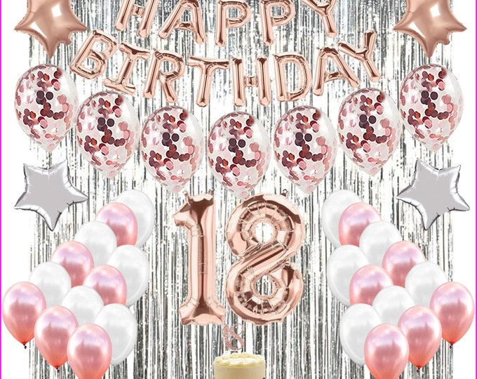"""18th Birthday Decorations eighteenth BDAY Party with """"18"""" Cake Topper ROSE GOLD"""