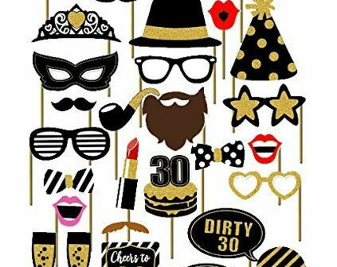 30th Thirtieth Year Birthday Party Masks Favor Photo Booth Props