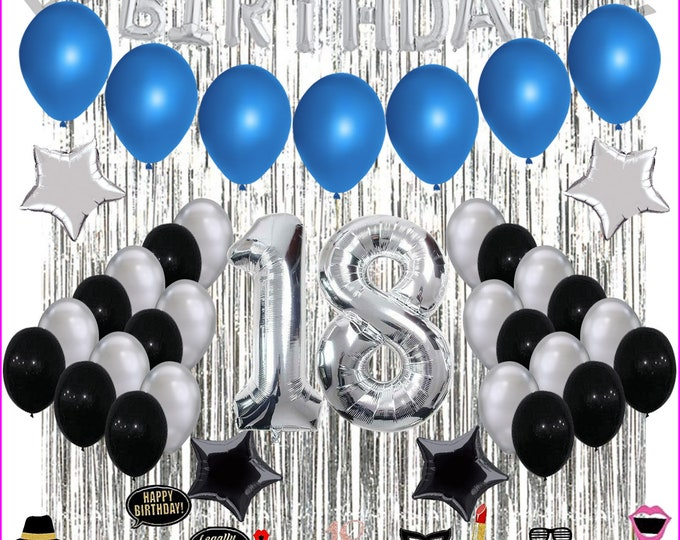 18th Birthday Decorations, 18th Birthday Party Balloons Blue Silver for Girls Boys Women Men - With 29 piece photo props included