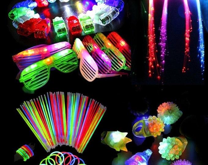 60PCS LED Party Favors Light Up Glow Toys Flashing Ring Glasses
