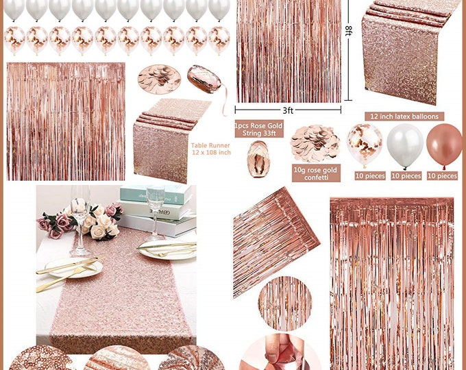 34pc Rose Gold Party Decoration Set, Table Runner, foil curtain, Confetti, Ribbon, Confetti and Latex Balloon for Wedding Reception & party