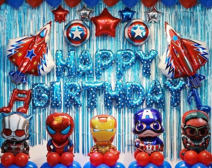 48 Pcs Avengers Birthday Party Supplies Decorations Superhero Balloons Set