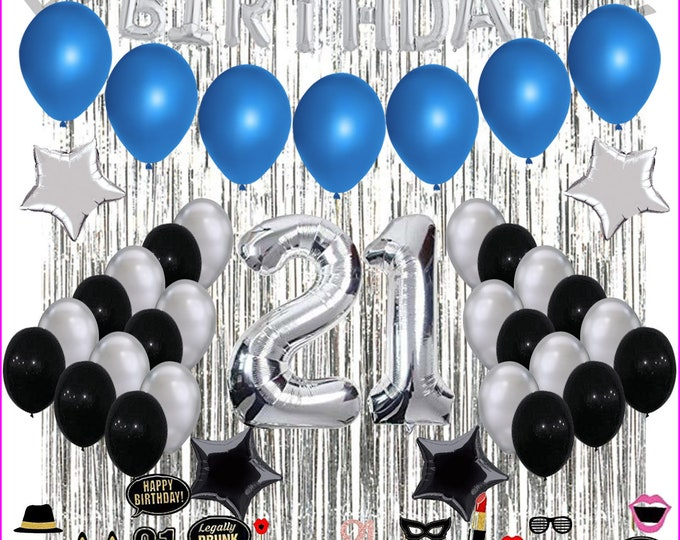 21St Birthday Decorations 21 Party Decoration Balloons Supplies with Photo props