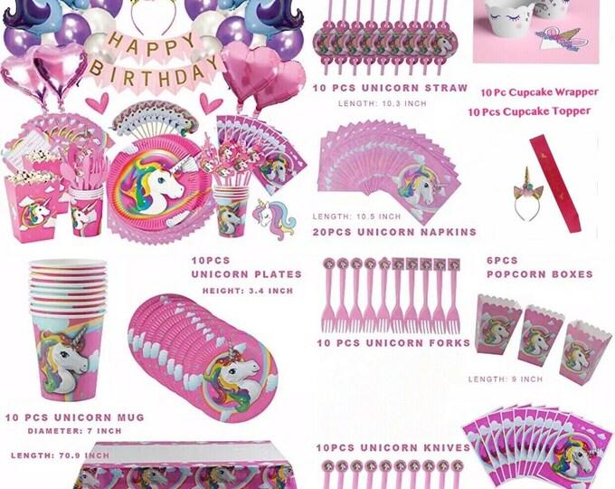 132 Pcs Unicorn Party Supplies Birthday Kit For Girls Complete Set Decorations, unicorn birthday, birthday party