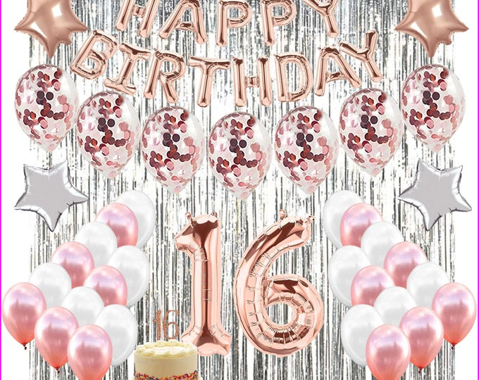 """16th Birthday Decorations SWEET SIXTEEN Party with """"16"""" Cake Topper rose gold, pink, white"""