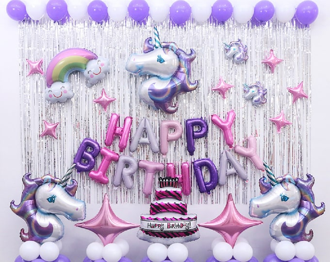 58 Pcs Unicorn Birthday party Supplies Unicorn Balloons decoration Set, unicorn birthday, birthday party, unicorn theme, birthday girl