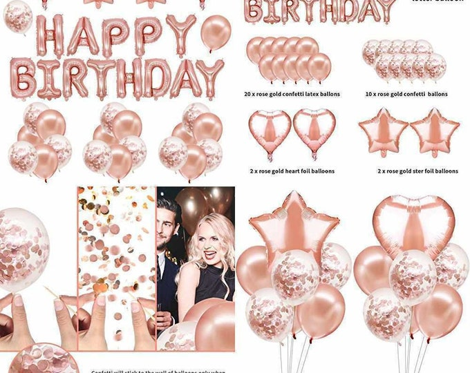 47Pcs Happy Birthday Decorations ROSE GOLD Party Supplies Banner Balloons Set