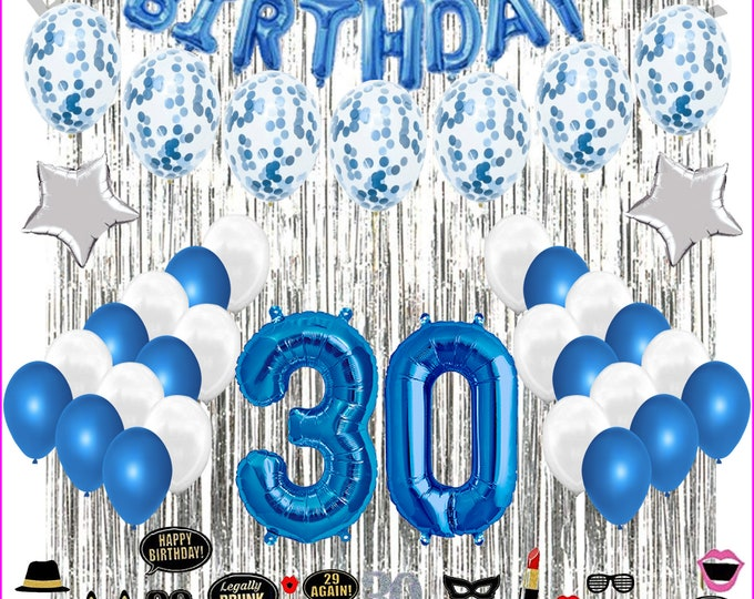 30th Birthday Decorations - Party Decoration Balloons Supplies & PHOTO PROPS