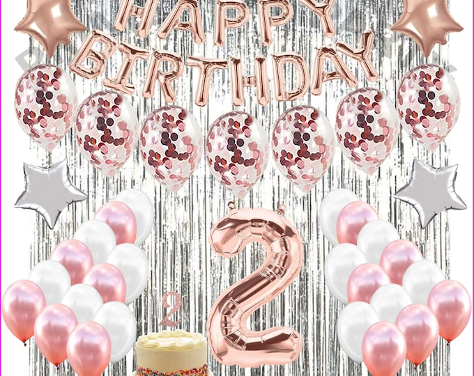 2nd Birthday Decorations Party Supplies second  Birthday balloons Rose gold Confetti balloons baby birthday
