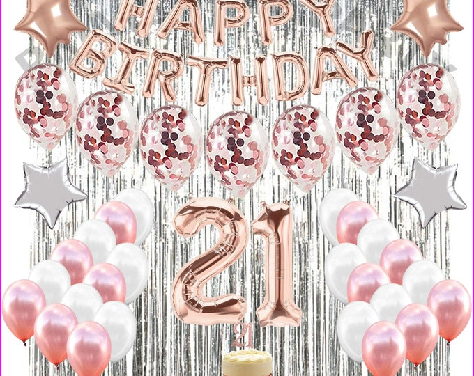 21St Birthday Decorations 21 Party Decoration Balloons Supplies ROSE GOLD, pink, white
