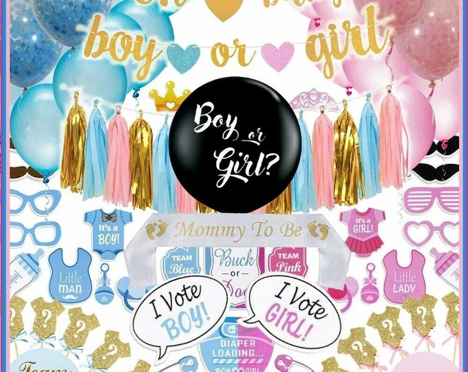 Gender Reveal Party Supplies (117 Pieces) with 36 inch balloon, photo booth game