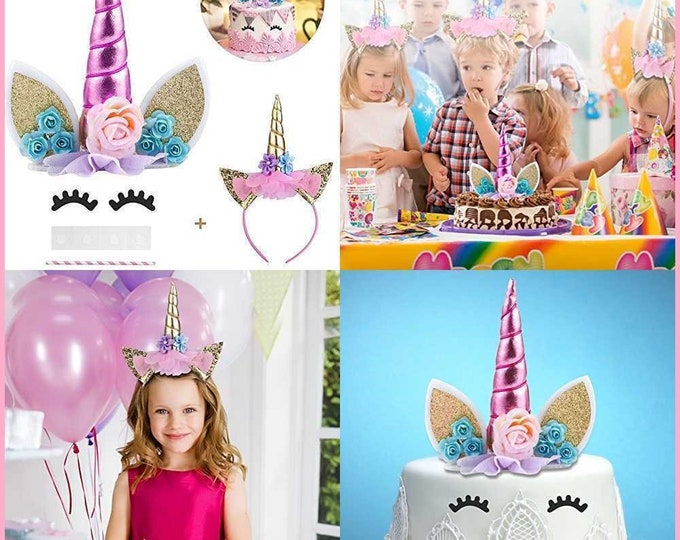 Unicorn Cake Topper with Eyelashes and Unicorn Headband, Handmade Unicorn Horn, Ears and flowers Set, Unicorn Party Supplies, Cake topper