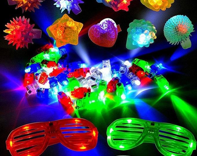 60 Pieces LED Light Up Toy Party Favor Pack Finger Lights Pump Rings LED Glasses