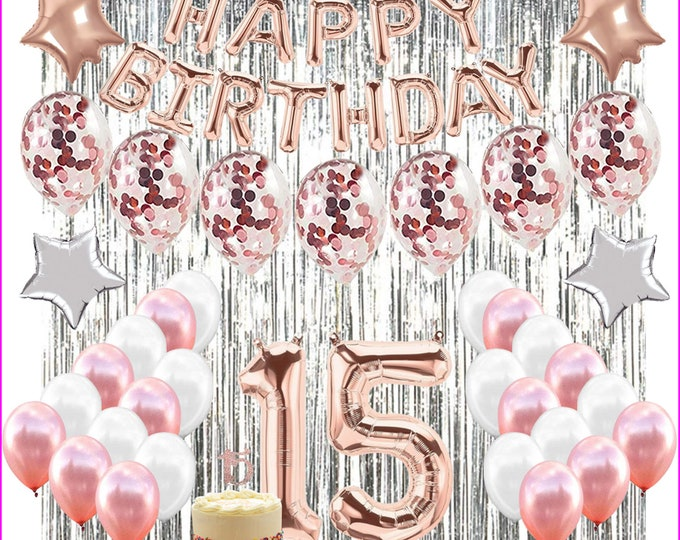 15th Birthday Supplies Set, 15th Birthday Decorations - Perfect for quinceañera!
