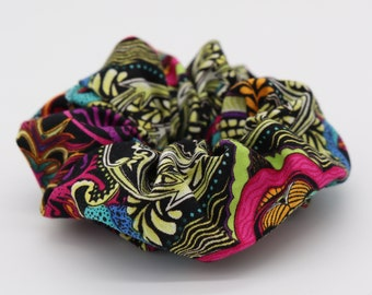 Multicoloured psychedelic floral scrunchie handmade
