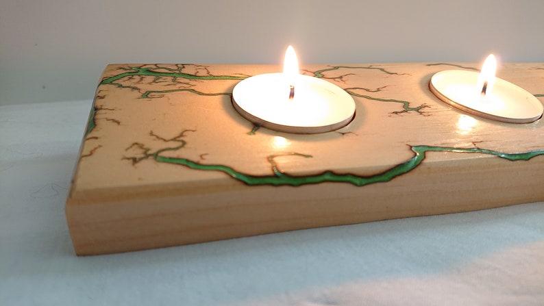 Fractal Burn Tea Light Holder 5 Burner Pine with Green Epoxy Resin