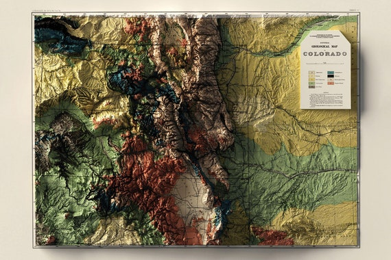 Vintage Map Stylized with Digital Hillshading Map Art Wall Decor Wall Art Red Rock Canyon Map Topo Map Historic Map Print