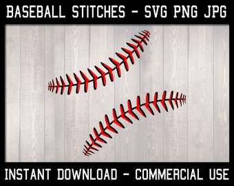 JPG SVG PNG instant download, commercial use allowed 2 layers - transparent background Baseball stitches digital cut file