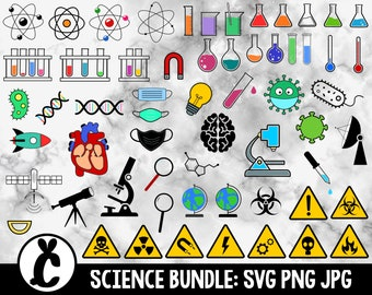 Science / chemistry icons bundle - SVG, PNG, JPG - Commercial Use - Transparent Background - 60 unique designs - Ready to Cut - Science icon
