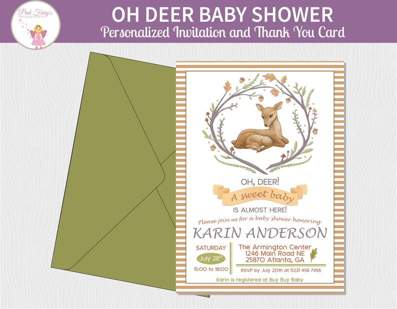 Baby Deer and Mommy Baby Shower Invitation in Watercolor image 0
