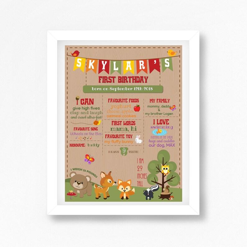 Woodland First Birthday Milestone Poster Woodland Animals image 0