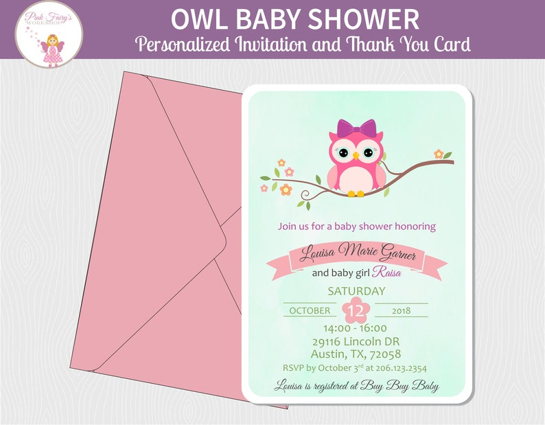 Little Pink Owl Baby Shower Invitation and Thank You Card  image 0