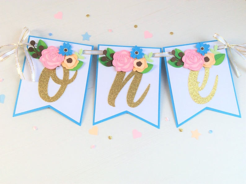 Floral One High Chair Banner Floral 1st Birthday Banner image 0