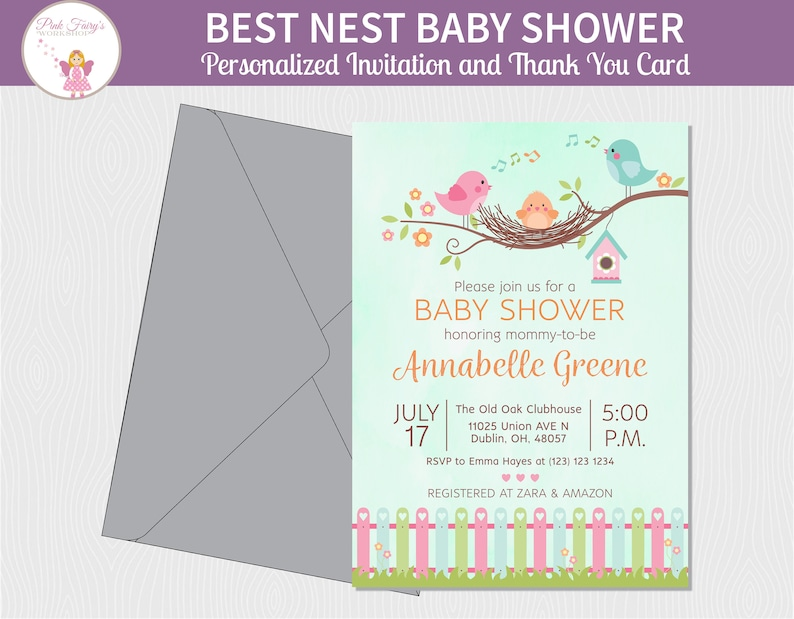 The Best Nest Spring Birds Baby Shower Invitation Cute image 0