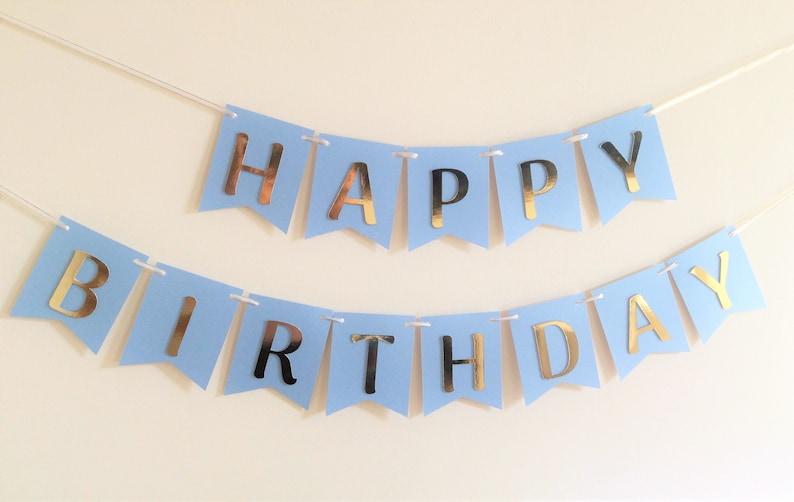Blue Gold Happy Birthday Banner Boy Birthday Banner Blue image 0