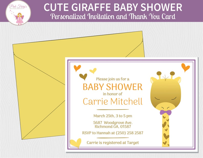 Cute Giraffe Boy or Girl Baby Shower Invitation and Thank You image 0